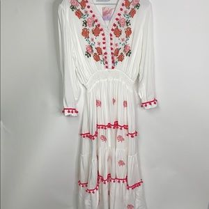 BOHO Peasant Chic Wish Maxi Dress Floral L Pom Pom